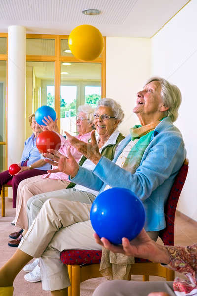 Group of elderly ladies in a seniors gym Stock photo © belahoche