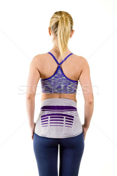 Atletisch vrouw verlagen Maakt een reservekopie ondersteuning Stockfoto © belahoche