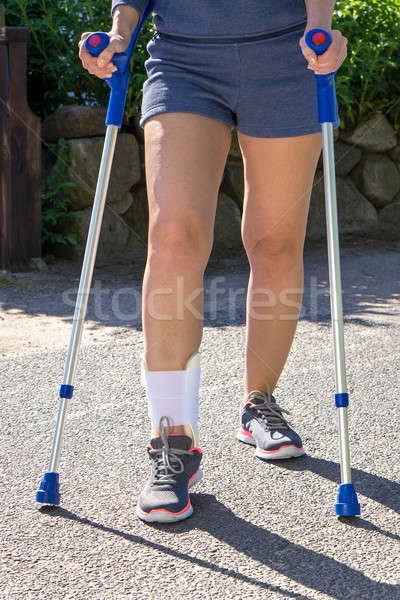 Person with Ankle Brace Walking with Crutches Stock photo © belahoche