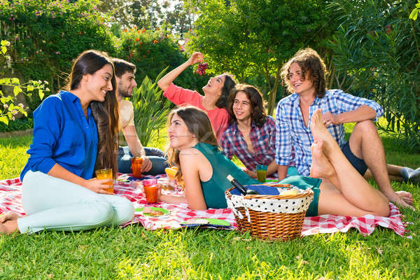 Small group of friends eating grapes on a blanket Stock photo © belahoche