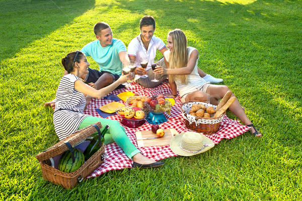 Friends having a picnic Stock photo © belahoche