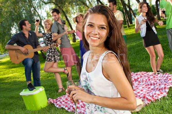 Beautiful vivacious teenage girl Stock photo © belahoche