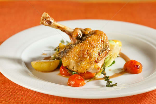 Delicious grilled chicken with vegetables.  Stock photo © belahoche
