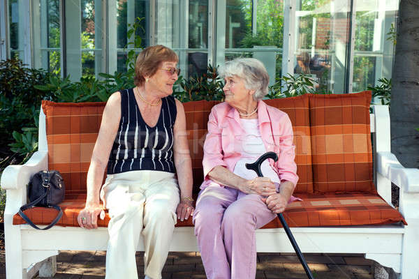 Two senior ladies enjoying a relaxing chat Stock photo © belahoche