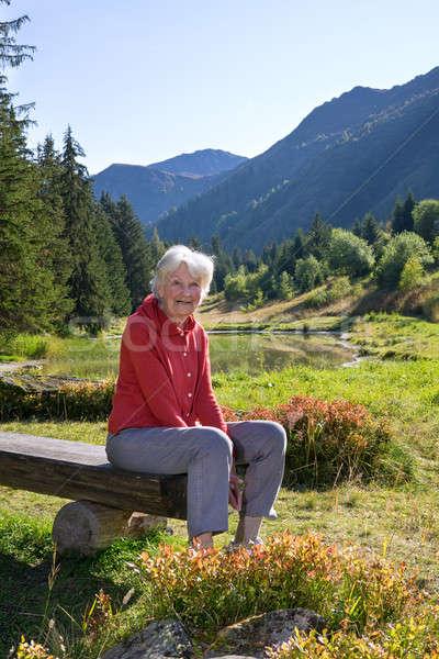 Altos mujer sesión banco Suiza sereno Foto stock © belahoche