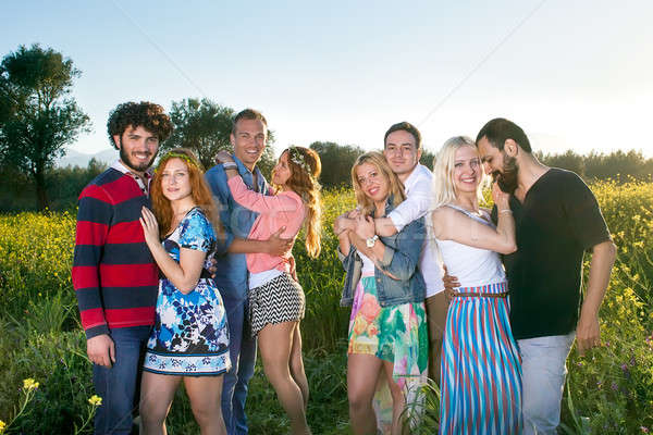 Grup dört sevecen genç çiftler samimi Stok fotoğraf © belahoche