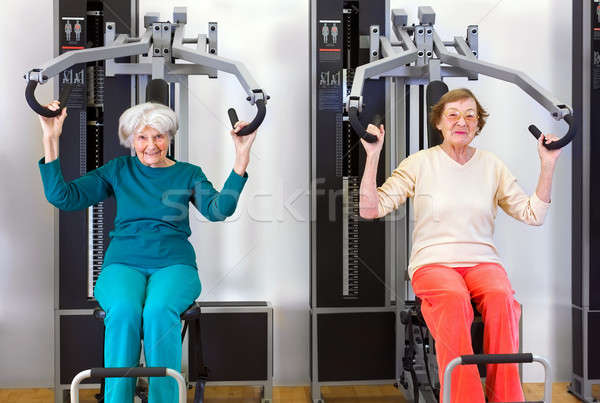 Front View of Old Women Exercising Stock photo © belahoche
