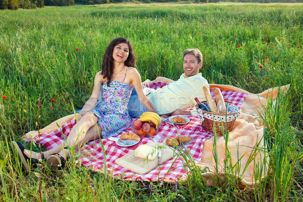 Laughing vivacious couple on a summer picnic Stock photo © belahoche