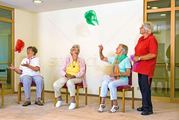 Happy elderly ladies in a gym Stock photo © belahoche