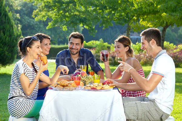 Friends enjoying a healthy outdoor meal Stock photo © belahoche