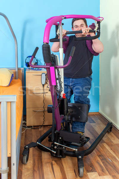 Spastic male infantile cerebral palsy patient Stock photo © belahoche