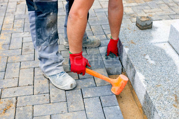 Construction worker putting concrete paving stones.  Stock photo © belahoche
