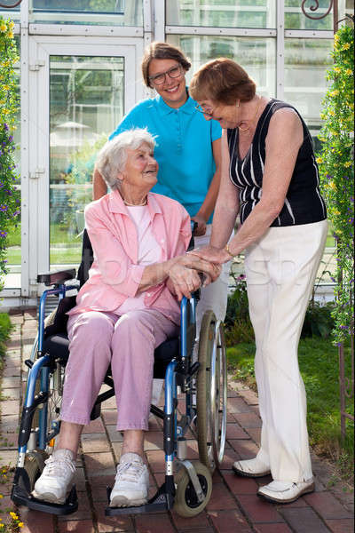 Elderly Patient on Wheel Chair with Two Caregivers Stock photo © belahoche