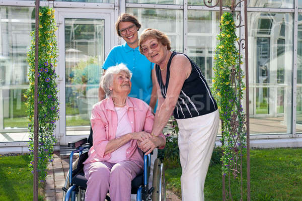Smiling Care Takers for Old Patient on Wheel Chair Stock photo © belahoche