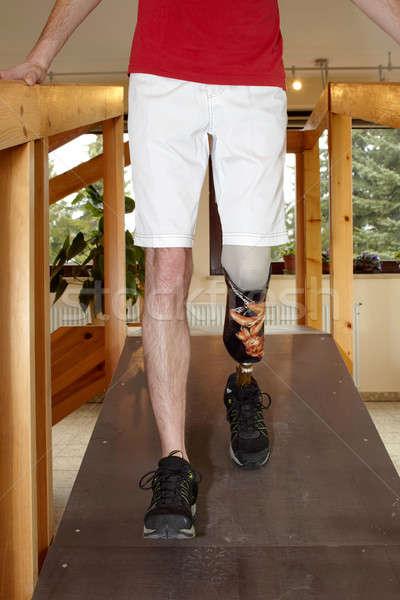 Erkek protez eğitim yürümek düşük bacak Stok fotoğraf © belahoche