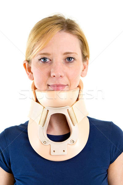 Blond Woman Wearing Supportive Neck Brace Stock photo © belahoche