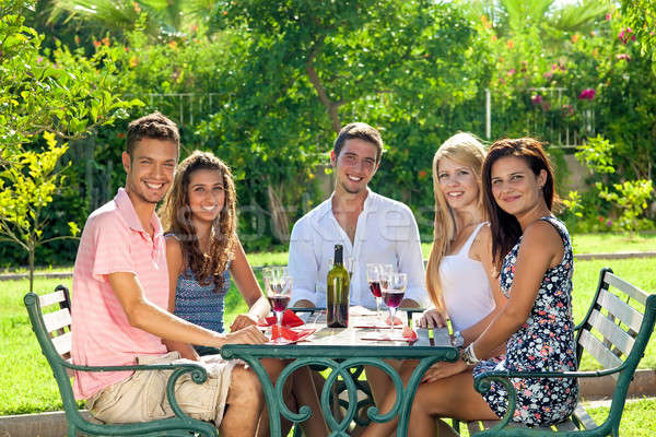 Attractive group of young friends drinking wine Stock photo © belahoche