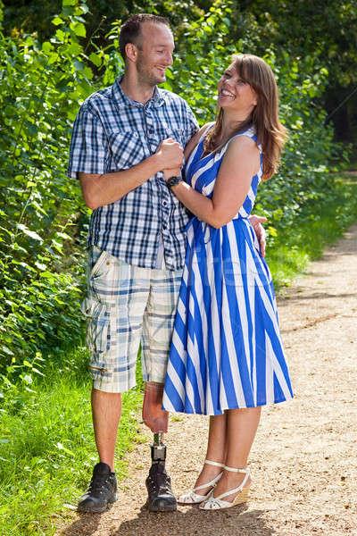 Happy attractive couple in love Stock photo © belahoche