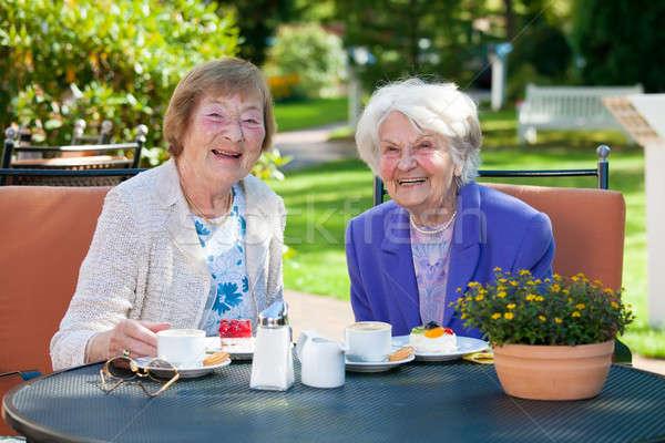 Idős női legjobb barátok megnyugtató asztal kettő Stock fotó © belahoche