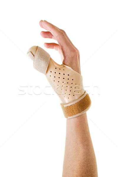 Hand Wearing Brace Over Thumb in White Studio Stock photo © belahoche