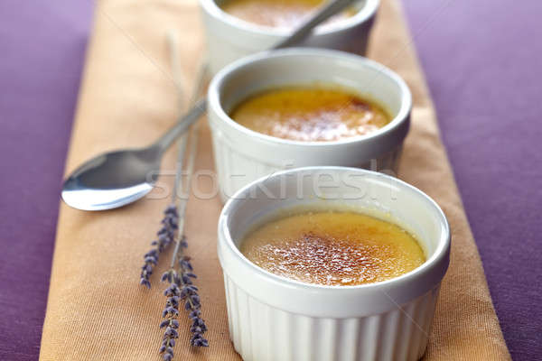 Crème brulee with lavender Stock photo © belahoche