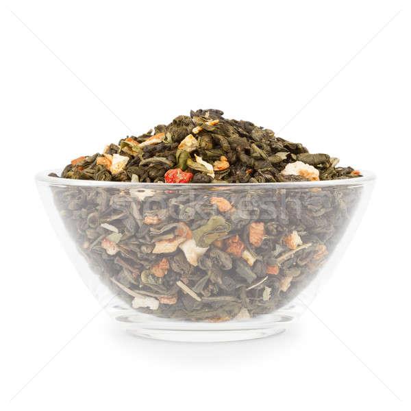 Schüssel Tee Glas exotischen Grüntee Scheiben Stock foto © Belyaevskiy