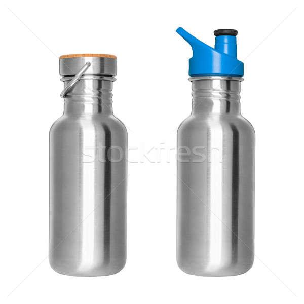 Roestvrij staal flessen geïsoleerd witte water sport Stockfoto © Belyaevskiy