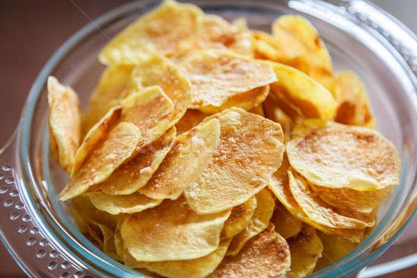 Foto stock: Batatas · fritas · delicioso · caseiro · vidro · tigela · cor
