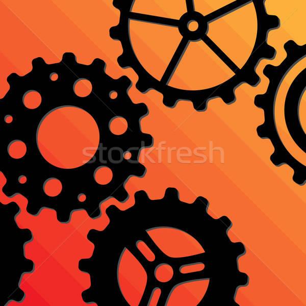 Stockfoto: Vijf · verschillend · zwarte · versnelling · wielen · oranje