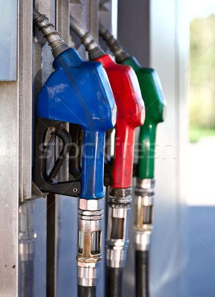 Stock fotó: Színes · üzemanyag · három · pumpa · benzinkút · kék