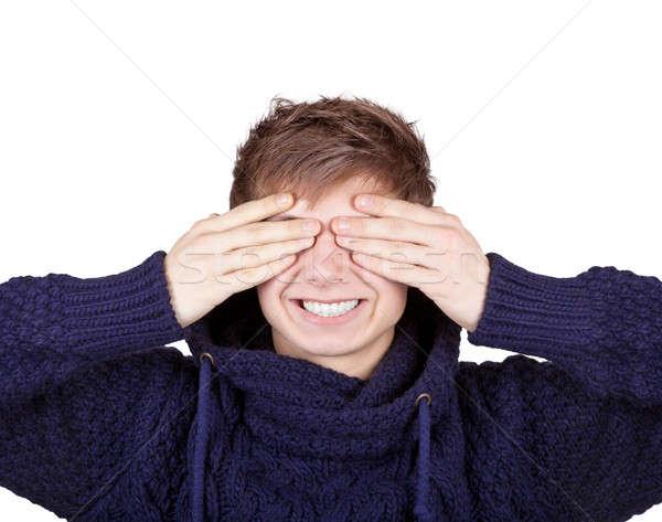 Boy Shut His Eyes With Hands Stock photo © Belyaevskiy