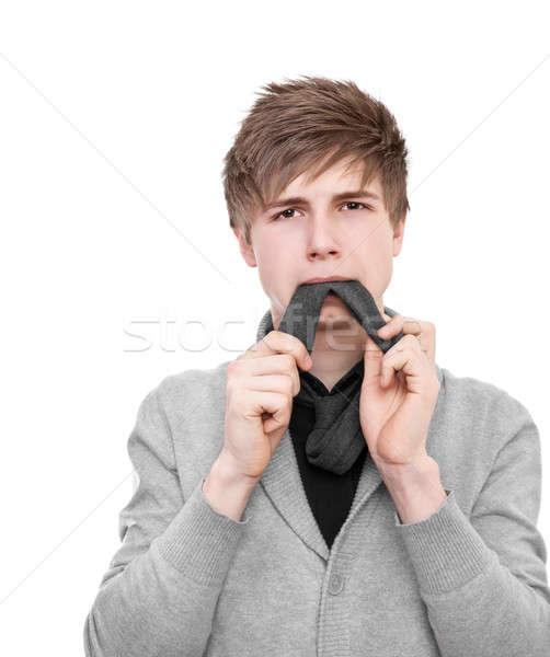 Comer amarrar estranho moço cinza cardigã Foto stock © Belyaevskiy