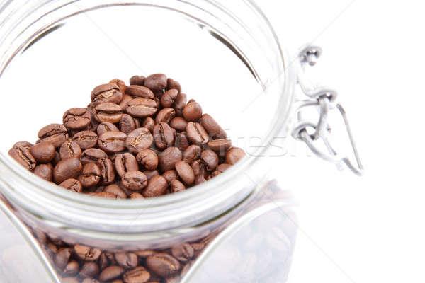 コーヒー豆 香ばしい ガラス jarファイル 孤立した ストックフォト © Belyaevskiy