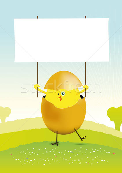 Tiny Easter Chicken in a spring landscape Stock photo © benchart