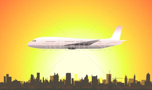 лет Flying самолет иллюстрация весны Сток-фото © benchart
