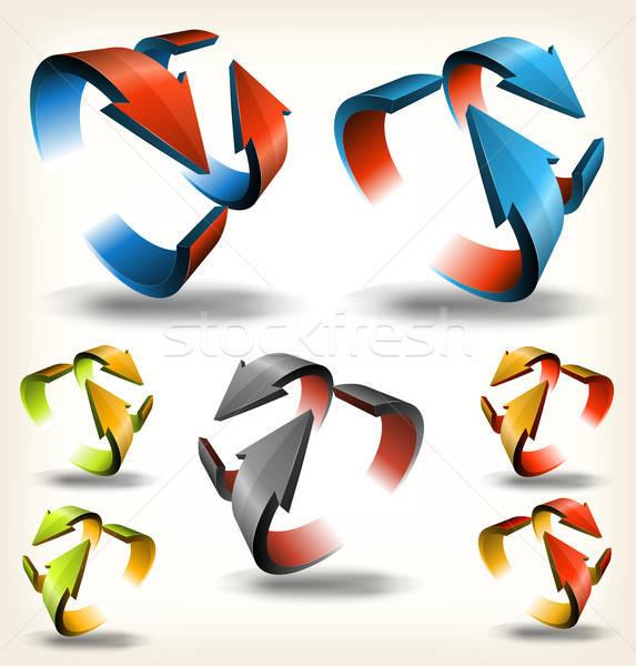 Double-sided Abstract Circular Arrows Stock photo © benchart