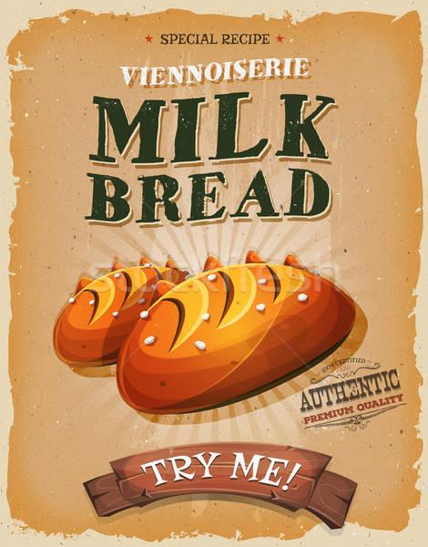 Grunge klasszikus tej kenyér poszter illusztráció Stock fotó © benchart