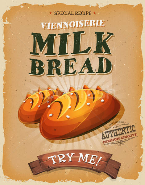 Grunge vintage leite pão cartaz ilustração Foto stock © benchart
