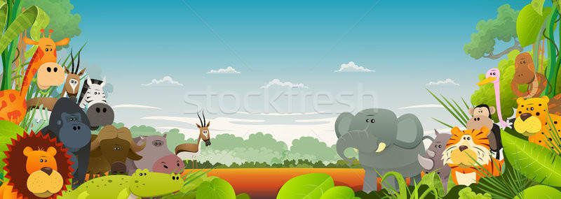 Wildlife afrikaanse dieren illustratie cute Stockfoto © benchart