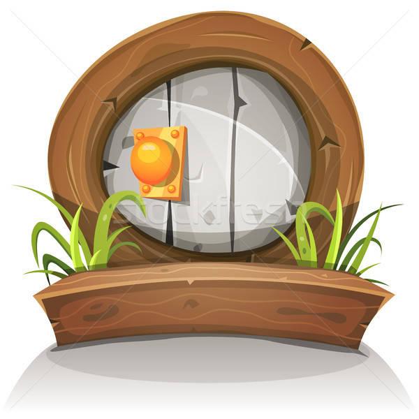 Cartoon piedra puerta ui juego Foto stock © benchart
