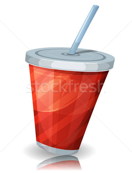 Fast-Food Tasse Soda Stroh Illustration funny Stock foto © benchart