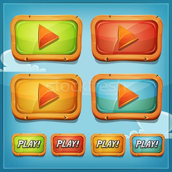 Giocare pulsanti icone gioco ui illustrazione Foto d'archivio © benchart