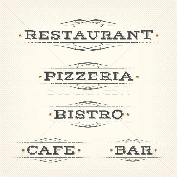 Retro restaurante pizzería bar banners ilustración Foto stock © benchart