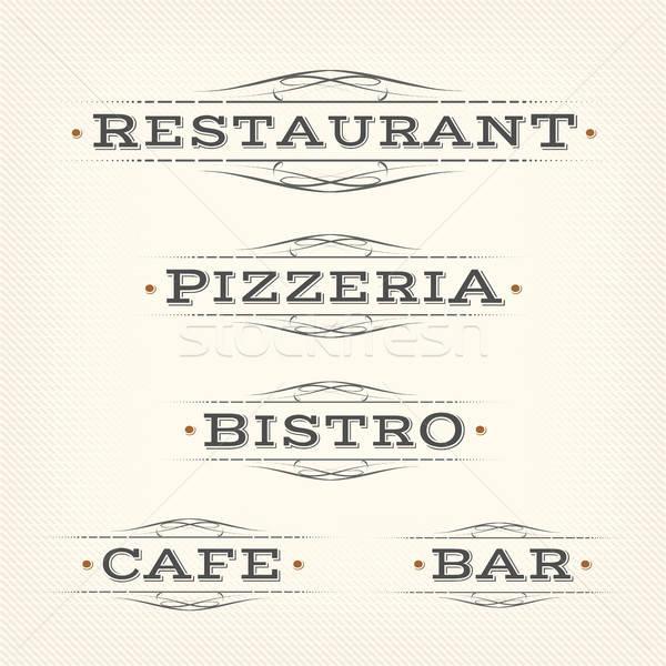 Stockfoto: Retro · restaurant · pizzeria · bar · banners · illustratie