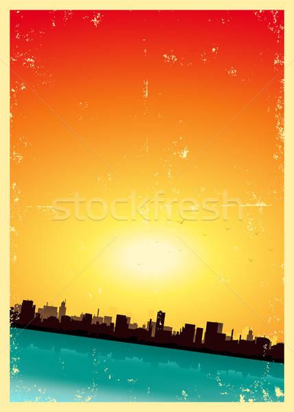 Grunge Summer Or Spring Vertical Urban Landscape Stock photo © benchart