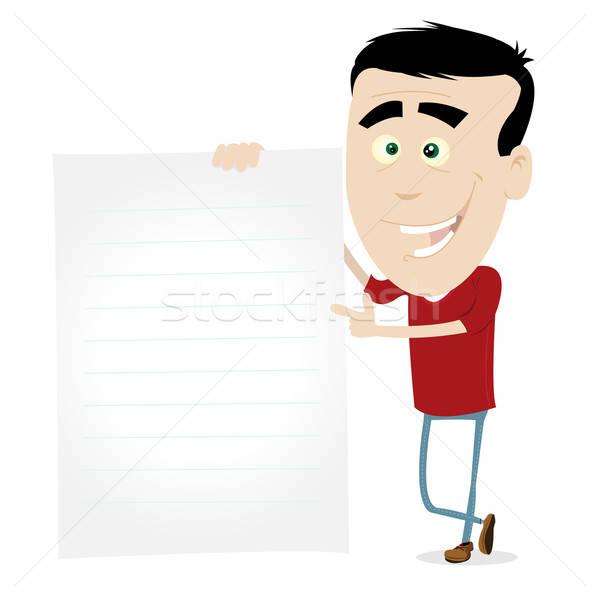 Cartoon Young Man Sign Stock photo © benchart