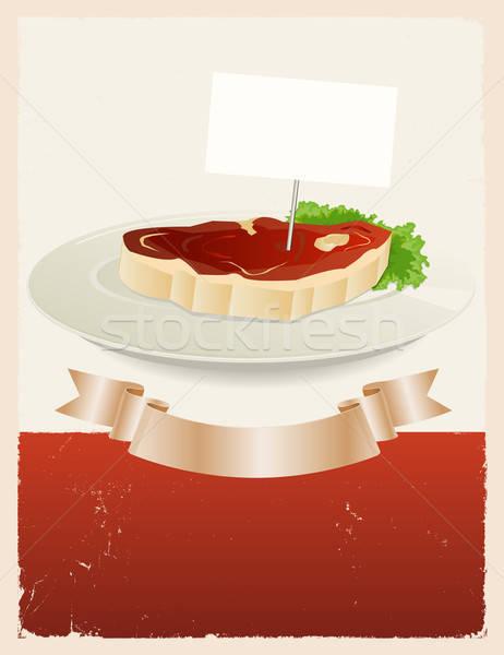 Czerwony mięsa restauracji banner ilustracja vintage Zdjęcia stock © benchart