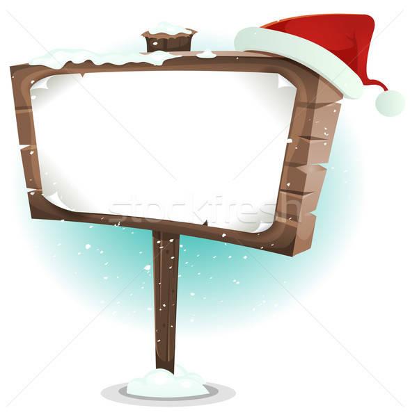 Santa Claus Hat On Wood Sign Stock photo © benchart