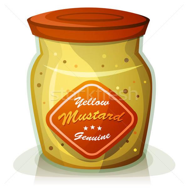 Citromsárga mustár edény illusztráció rajz klasszikus Stock fotó © benchart
