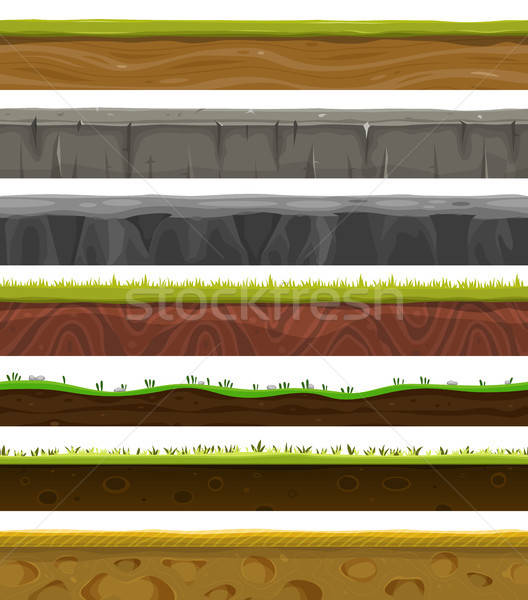 Seamless Grounds, Soil And Grass For Ui Game Stock photo © benchart